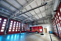 Marshes End Fire Station, Dorset Fire and Rescue Service, Poole fire engine garage