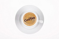 digital enhancement - clip image - coffee sign written on cafe crema coffee foam