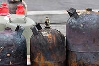 verbrannte Gasflaschen