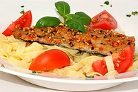 home made tagliatelle with organic tomato and mackerel