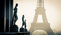 Statuary at the Palais de Chaillot  and Eiffel Tower  Paris, France