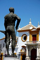 Statue outside the entrance to Plaza de Toros de la Real Maestranza de Caballeria de Sevilla, Spain´s oldest bullring arena, Seville, Andalusia, Spain