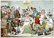 Smallpox vaccination. Satirical artwork of the supposed effects appearance of cow_like appendages of the use of cowpox as a vaccine against smallpox. ...