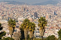 Spain, Barcelona, General view of the city of Barcelona to the Sagrada Familia from Montjuïc
