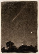 Halley´s Comet. Historical photomechanical print depicting the 1910 appearance of Halley´s Comet with Venus lower right and The Moon bottom centre. Ha...