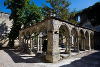 Cloister of Cordeliers Convent, in Saint Emilion, town listed as World Heritage by UNESCO  Libourne district, Gironde department, Aquitania region  Fr...