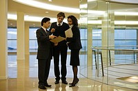 Business executives standing together discussing document (thumbnail)