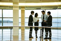 Group of executives talking in corridor (thumbnail)
