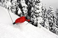 A skier in a red coat, goggles and helmet floats through knee deep powder.