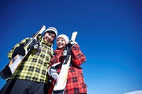 couple have a great time in ski resort