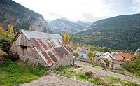 Serveto village in autumn in gistain valley,pyrenees,huesca province,aragon,spain