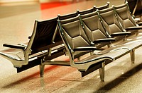 Chairs in the waiting area of ??an airport