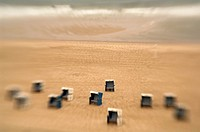 Beach chairs on the beach of Sylt, look like toys