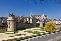 City walls, gardens, Connetable Tower and Cathedral at Vannes, Morbihan, Brittany, France