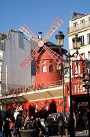 View of the Moulin Rouge in Paris, France
