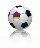 Armenian flag on football, close up
