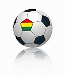 Bolivian flag on football, close up