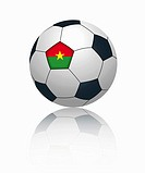 Burkina faso flag on football, close up