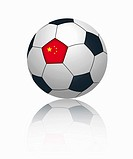 Chinese flag on football, close up