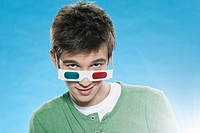 Teenage boy wearing 3d glasses