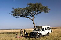 Tourists On Safari having Picnic - Masai Mara National Reserve, Kenya