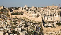 View of the Jewish Quarter inside the walls of Old Jerusalem from Mount of Olives, Jerusalem, Israel
