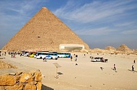 The Great Pyramid of Cheops with museum housing Solar Boat in Giza, Egypt