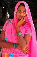 Woman at souvenir shop at Lakshman Jhula in Rishikesh
