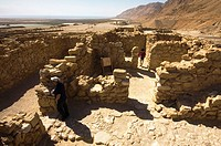 Tourist, Archaeological site, Qumran, Dead Sea, Israel.