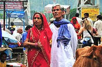 Pilgrim couple at Lakshman Jhula in Rishikesh