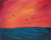 Seascape painting 'Pelicans at Dusk'