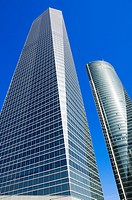 View from below of Crystal Tower and Espacio Tower located in Cuatro Torres Business Area of Madrid, Comunidad de Madrid, Spain, Europe