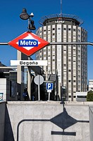 Entry of a Metro Station in Begoña, with the Hospital de La Paz building behind, Madrid, Comunidad de Madrid, Spain, Europe