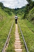 People walking on rail track