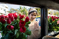 Flowers seller on the road, Mumbai, India
