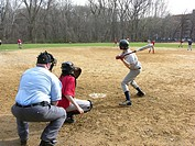 Little league baseball team photographed during a game