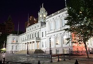 New York City Hall is located at the center of City Hall Park in the Civic Center section of Lower Manhattan