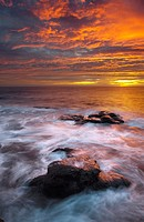 Sunset on the coast of the natural park of Cabo de Gata, Almeria