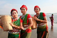 The members of Tripura Tribal performing dance in the occasion of tribal festival at Cox's Bazar About 75000 Tripura living in Bandarban, Khagrachari ...