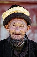 Elderly Uighur man with turban, Kashgar, Xinjiang, China