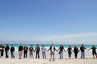 Florida, Miami Beach, Surfrider Foundation, No Offshore Florida Oil Drilling Protest, black clothing represents oil, hold hands, student, teen, male, ...