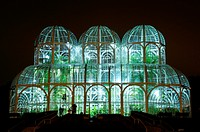 Greenhouse at the botanical garden of Curitiba (Jardim Botânico Fanchette Rischbieter) at dusk, Paraná, Brazil