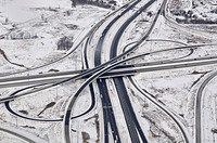 Aerial view of highway intersection in the snowy winter, Toronto, Ontario, Canada.