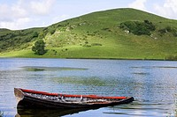 Republic of Ireland, County Limerick, sinking rowing boat on Lough Gur