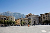 Italy, Sulmona, Piazza Garibaldi with mountain in background