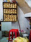 Bread in street food stall in Hanoi, Vietnam