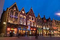 The Markt, Market Square, Bruges, Brugge, West Flanders, Flemish Region, Belgium, Winter.