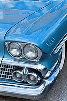 Front of a blue car