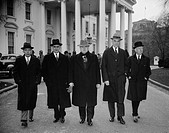Capital and Labor leaders leaving the White House after a conference with President Roosevelt From left to right:, A.A. Berle, former Brain Truster of...