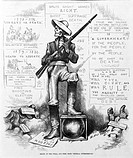 Death at the polls, and free from 'federal interference'. Skeleton 'solid Southern shot gun' holding shotgun at polls, to prevent African Americans fr...